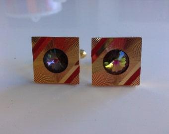 Vintage Retro Swarovski Watermelon Rainbow Rivoli Crystal & Gold Tone Square Sunburst Geometric Modernist Cufflinks