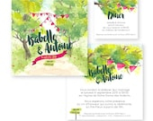 Wedding invitation - Watercolour - pennants - marriage Champetre - campaign - PDF to print yourself