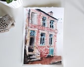 Original watercolor painting - home front - France