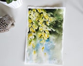 Original watercolor painting-laburnum - yellow flowers
