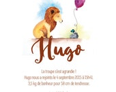 Birth announcements lion - animal - Watercolour - PDF to print yourself