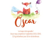 Birth announcement Fox - animal - Watercolour - PDF to print yourself