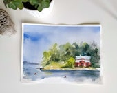 Original watercolor painting - Island - view of the archipelago of Stockholm - Sweden