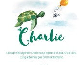 Birth announcements turtle of sea - animal - Watercolour - PDF to print yourself