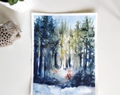 Original watercolor - winter forest
