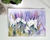 Original watercolor painting - Primroses