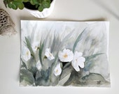 Original watercolor painting-Primroses green atmosphere