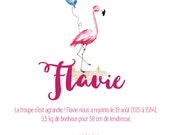 Birth announcements pink Flamingo - animal - Watercolour - PDF to print yourself