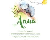 Birth announcements koala - animal - Watercolour - PDF to print yourself