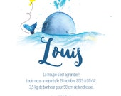 Birth announcements whale - animal - Watercolour - PDF to print yourself