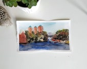 Original watercolor painting-view of Stockholm