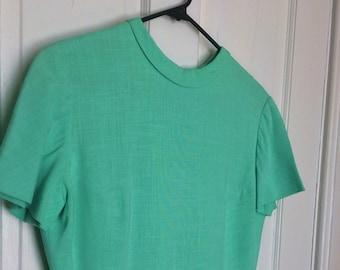 1ee6c935c0b5 Pauline Trigere 1950's Vintage Linen Dress Mint Green