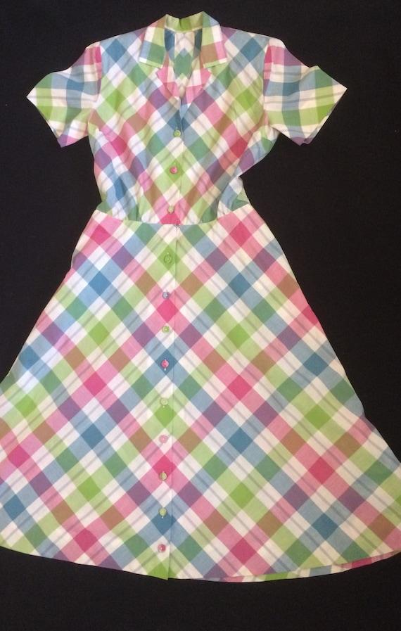 Vintage Short Sleeve Pastel Plaid Dress with Pocke