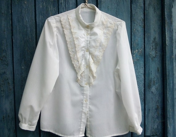 Victorian white embroidered blouse Romantic frill