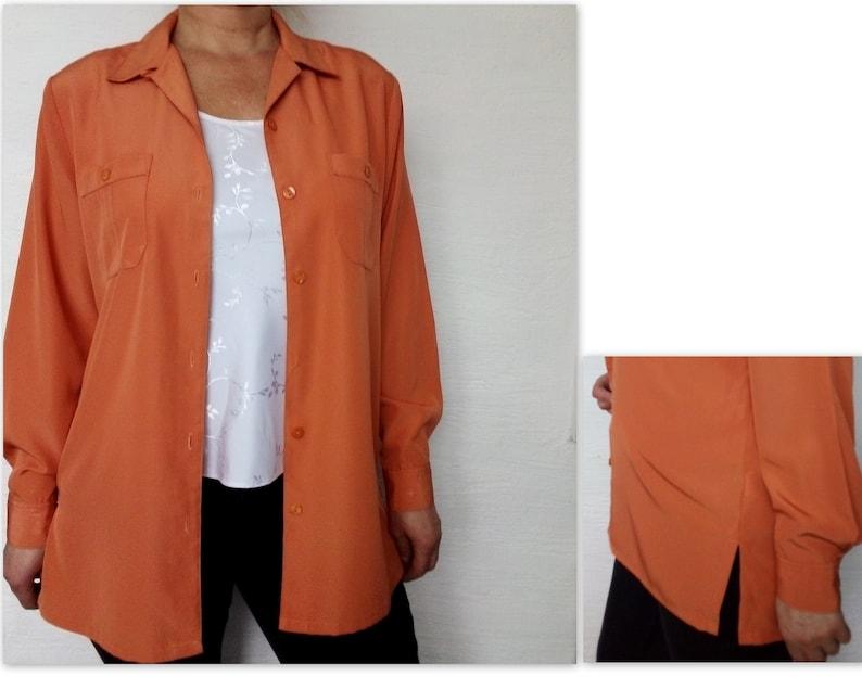 8603619bd575 Vintage 90 s Orange long shirt women Designer blouse St