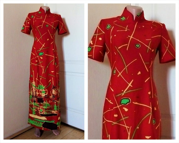 Vintage Red Cheongsam dress Chinese maxi dress Abc