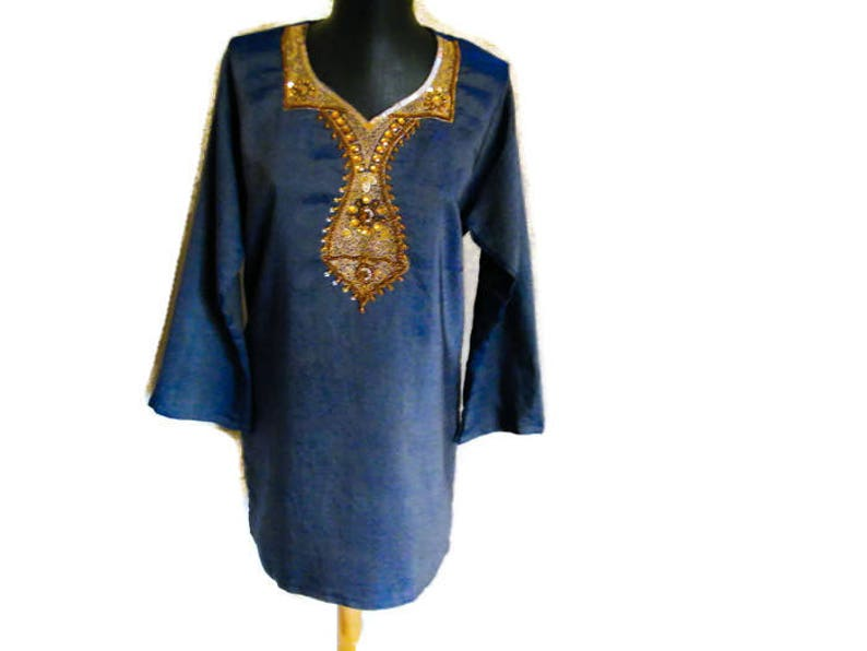 b3d7b86853 Indian Embroidered tunic dress Festival kurta Blue gold