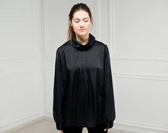 Vintage plus size black silk blouse Edwardian turtle collar blouse high stand collar blouse drapery collar blouse black long sleeves top 80s