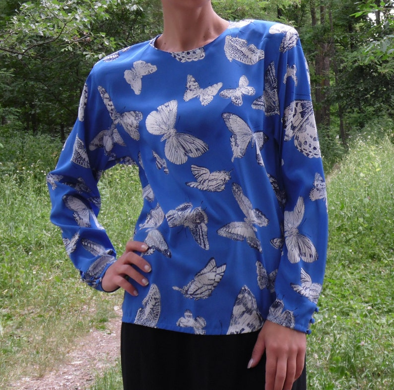 Vintage Blue White silk blouse JAEGER  designer top blouse Butterfly print top 80/'s classik blouse Party look top Office Formal blouse