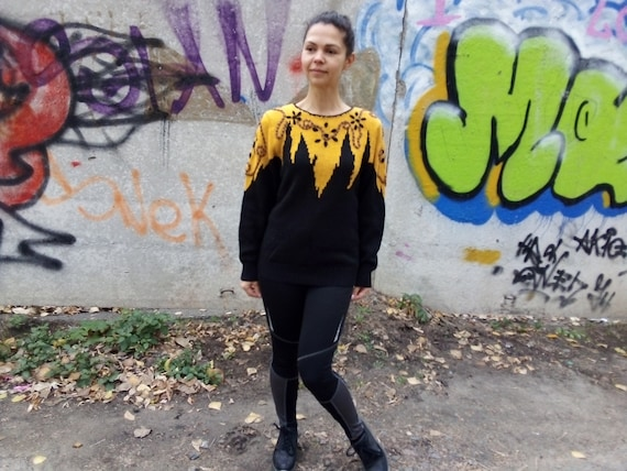 Vintage 80/'s Black wool embroidered sweater  Ladies elegant Knit warm winter sweater Yellow black pullover Showy sweater Mothers day gift