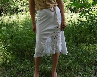 White  linen lace skirt Summer Beach Party skirt asymmetric midi skirt sexy skirt hippie skirt bohemian skirt boho skirt vintage white skirt