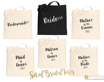 SET of Bridal Tote bags - Bridesmaid gift set - Wedding custom tote bags - Bachelorette tote bags - Custom canvas tote - Wedding tote bags