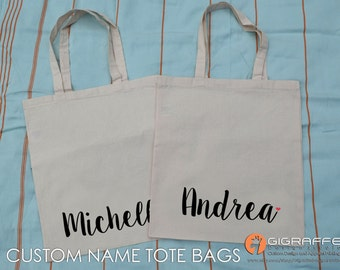 Custom name Tote bags - Canvas tote bags - Custom tote bags - Custom design -  Custom name totes - Custom canvas tote - Logo tote-bridesmaid