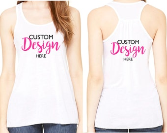 Custom Racerback tank top / FRONT and BACK printing / Custom designs / Custom apparel / Design your own apparel / Bachelorette party