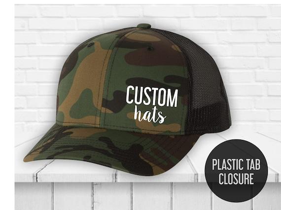 Trucker Hat with custom print - Unisex trucker caps - Vintage Hats -  Trucker hat men -Custom logo print - Heat Vinyl Print hat - Yupoong