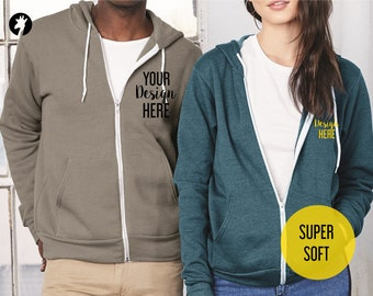 Custom Unisex Zip Up Hoodie - Soft Hoodies with your own design - Sweaters with Text, Graphics or our own logo - Custom Bella Hoodies