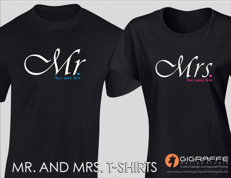 4fc7f2ebed Set of Mr. and Mrs. T-shirts / Custom t-shirts / Custom | Etsy