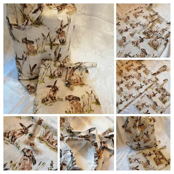 Laundry Bag-Large and Travel Size-Pretty Storage Bag for Bedroom or Bathroom-Countryside Hares-Laundry Organisation Travel Laundry Bag