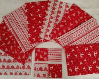Christmas Placemats and Coasters - Bright Red/White Scandinavian designs- Snowy Houses and Reindeer-Christmas Table Mats