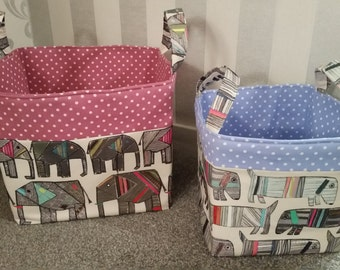 Large Storage Baskets/Boxes with Handles. Designer 100% Cotton Fabric. Jumbo Elephant and Frankie Dog Pink/Blue Trim& Lining