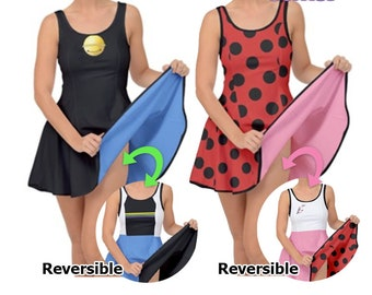 Miraculous Ladybug Inspired Cosplay Dress Miraculous Ladybug Dress Marinette Cosplay Chat Noir Cosplay Reversible**MADE 2 ORDER, Month**