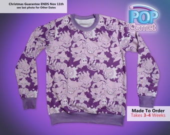 Ghost Pokemon Sweatshirt Pokemon Inspired Ghost Type Pokemon Sweater Jumper Crop Sweater Nintendo Womens Kids & Mens Sizes  *MADE 2 ORDER*