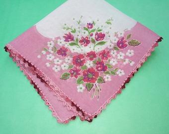 M Vintage Hankie Pink Poppy Hanky
