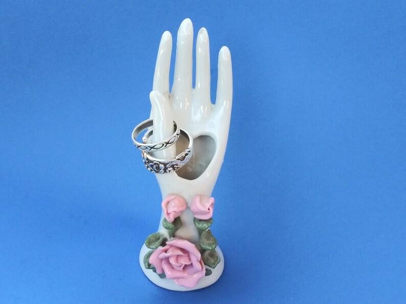 U Vintage Ring Holder Porcelain Hand Vase