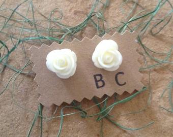 Large White Rose Stud Earrings