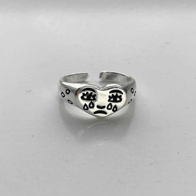 Why So Sad Face Crying Silver Colour Ring Resizable  Adjustable