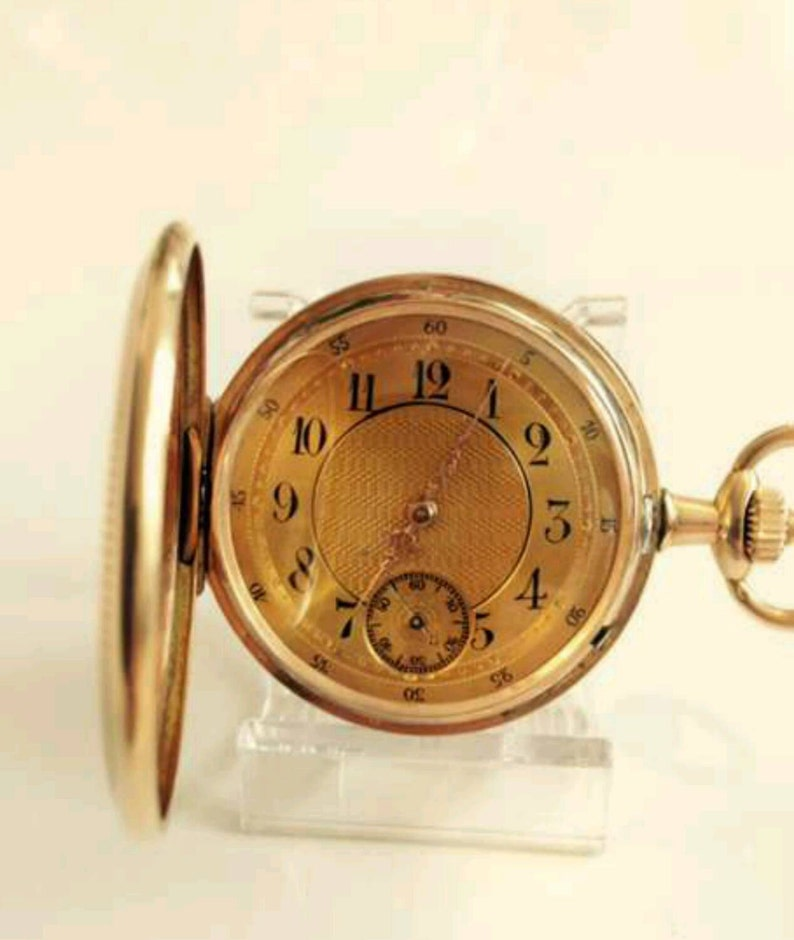 NEW PRICE!!! Antique Chenuhr 585 Red Gold 1A State 1900 Jdt Ancre Ligne  Droite 16 Rubis