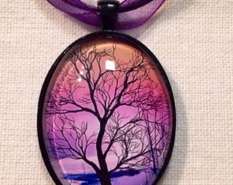 Pink Sky Tree Pendant Necklace