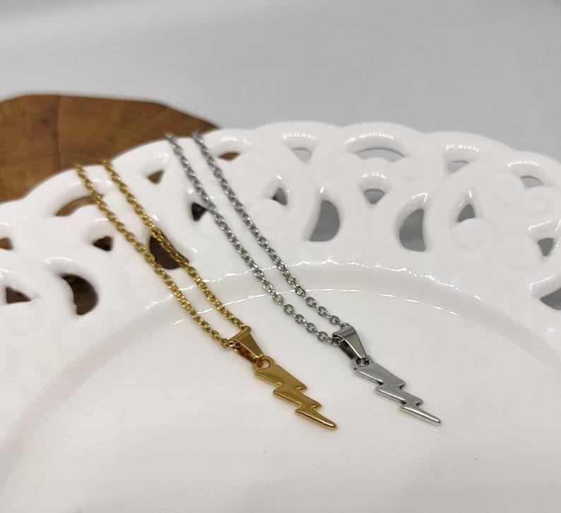 Lightning Bolt Charm Celestial jewelry lightning bolt gold necklace Thunder necklace David bowie Boho necklace Lightning necklace