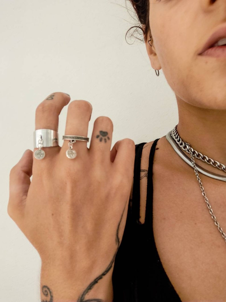 Gold dangle ring Dainty ring Moonchild ring Dangle ring Boho ring Graduation gift Dangle charm ring Celestial ring Witch ring