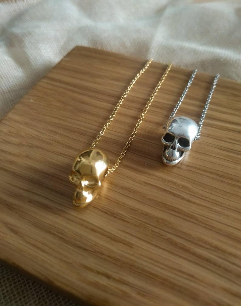 Silver skull necklace Tiny gold skull necklace Skull pendant image 1