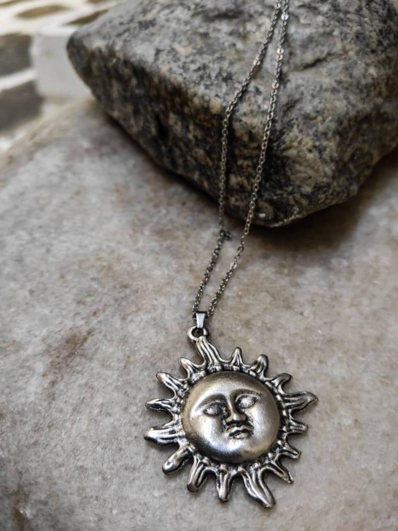 Celestial necklace Sun pendant Silver sun necklace Sun and moon pendant necklace Necklaces for women Gift for girlfriend Thank you gift