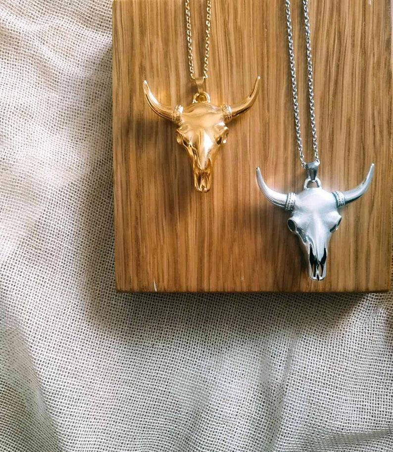 Bull skull necklace Horn necklace Buffalo skull Bull skull image 0