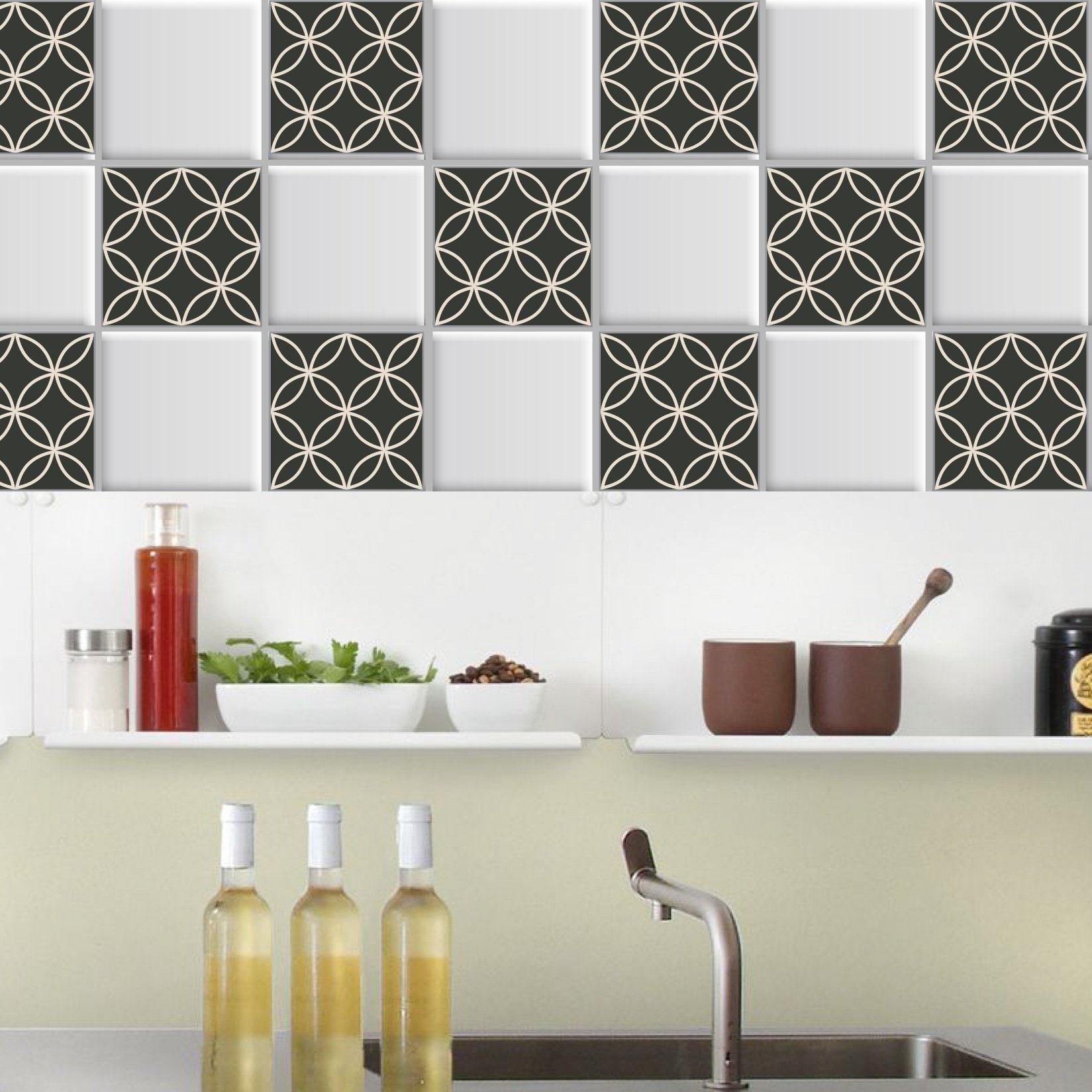 Geometric Tile Stickers Set Of 24 Tile Sticker Kitchen Bathroom Floor Wall Waterproof Removable Peel N Stick Fireplace Tile Stickers
