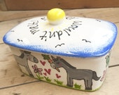 Hand Painted, Personalised Butter Dish