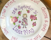 Personalised Hand Painted Christening Plate